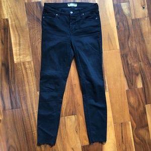 Free People Reagan Raw Hem Jeans Black 28 x 27